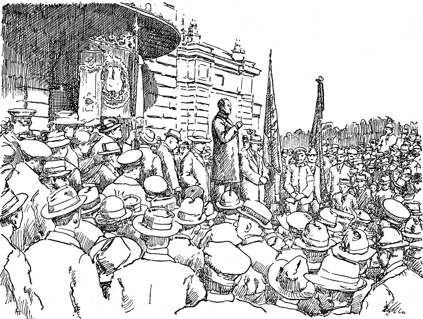 """""""Ausruf der Republik in Mainz durch Genossen Adelung am 9. November 1918"""" [richtig: 10. November 1918!]. Postkarte. Bernhard Adelung (* 30.11.1876, + 24.02.1897), Redakteur der Mainzer Volkszeitung, seit 1903 MdL, seit 1905 Stadtverordneter, von 1919-1928 Präsident des Landtages, von 1928-1933 Hessischer Staatspräsident. Er stellte sich am 09.11.1918 an die Spitze des Arbeiter- u. Soldatenrates u. konnte so größere Ausschreitungen verhindern. Am 10.11.1918 verkündete er auf der Freitreppe der Stadthalle die Abdankung von Kaiser Wilhelm II. und von Großherzog Ernst Ludwig und rief am gleichen Tage die """"Deutsche Republik"""" aus. Zeichnung von Hans Kohl nach einer Fotografie. Quelle: Mainzer Volkszeitung Nr. 260 (09.11.1929)"""